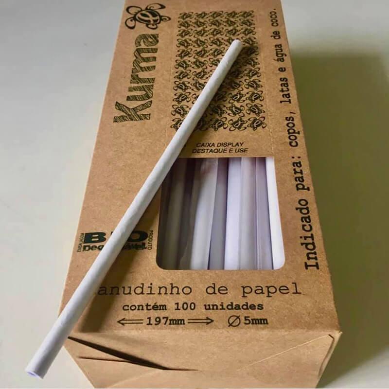 KURMA Canudinho de Papel - Canudos de papel 100% biodegradáveis.